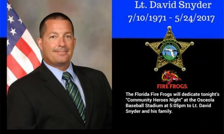 The Ceremony for Osceola Sheriff Lt. David Snyder Will Be at 5:05pm Tonight Before the Fire Frogs Game