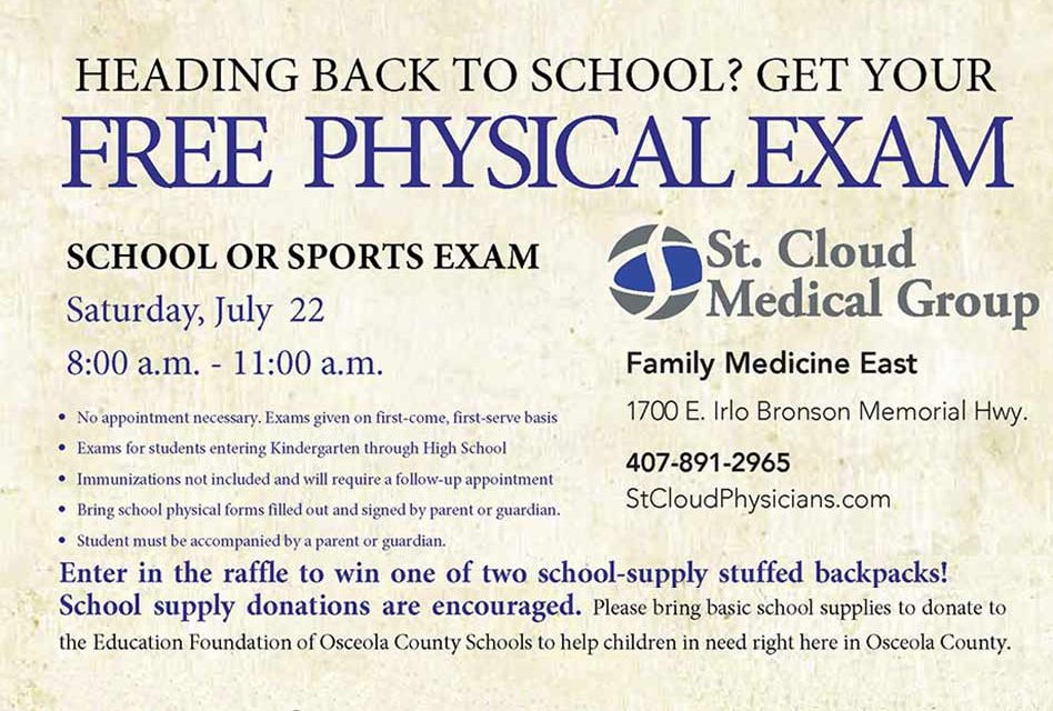 Heading Back to School Soon? Get Your FREE School or Sports Physical Exam!