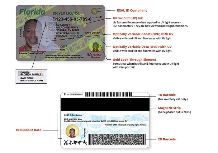 State of florida 39 s new driver license and id card for Out of state fishing license florida