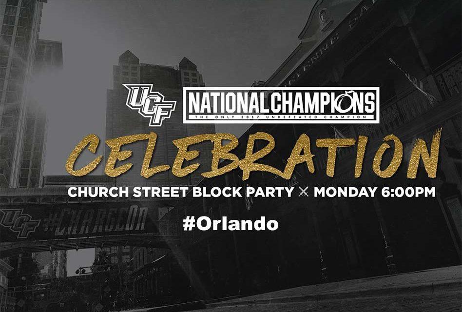 UCF Knights National Championship Celebration In Downtown Orlando Monday Night!