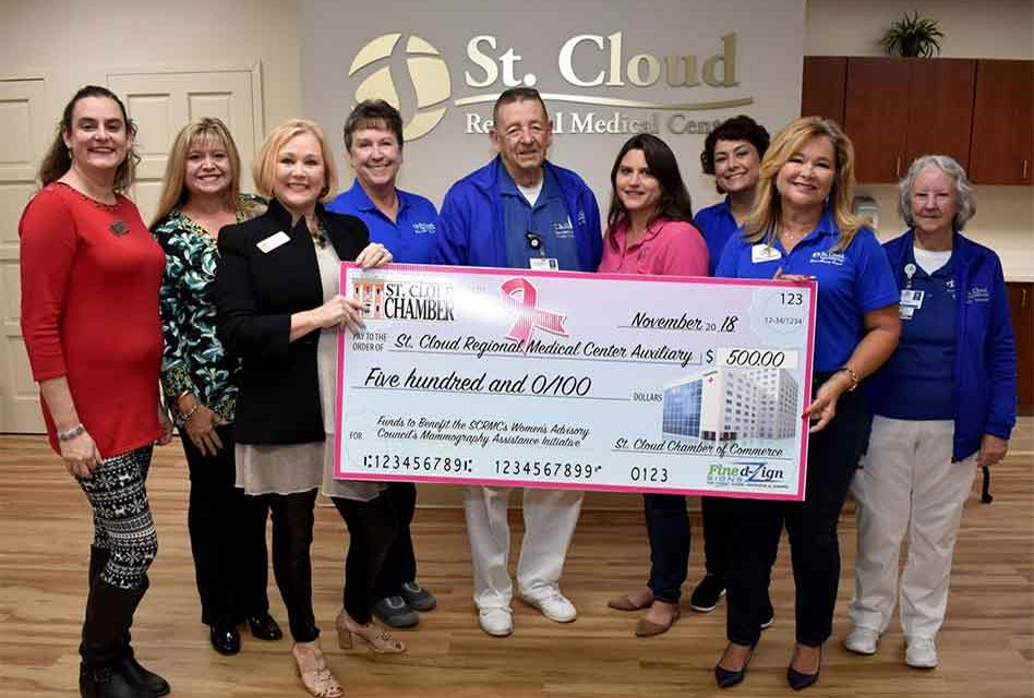 St. Cloud Chamber Presents Check Of Raised Funds For The St. Cloud Regional Medical Center's Auxiliary and Mammogram Initiative Fund