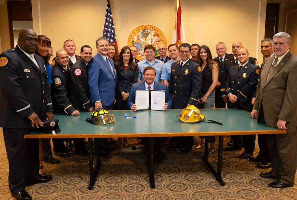 Governor Ron DeSantis signs the Florida Firefighters Cancer Coverage Bill into Law