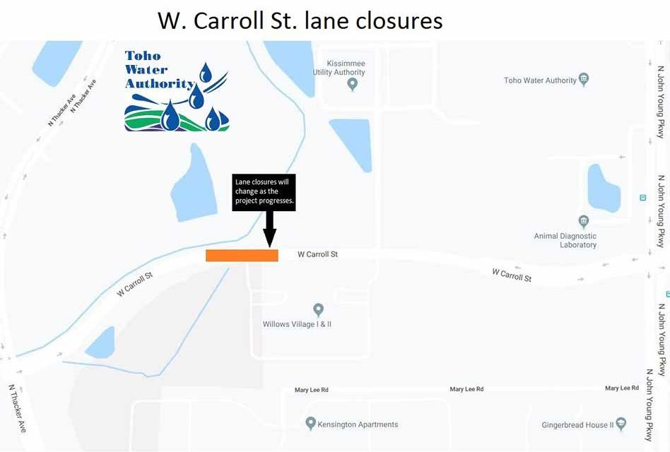 Toho Water Announces Temporary Lane Closures on W. Carroll St. Starting on Monday, July 8th