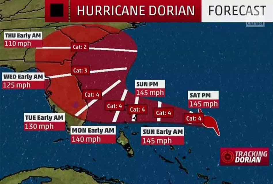 Hurricane Dorian's Track Continues to Shift But Florida Remains at Risk, Georgia and the Carolinas Now Threatened