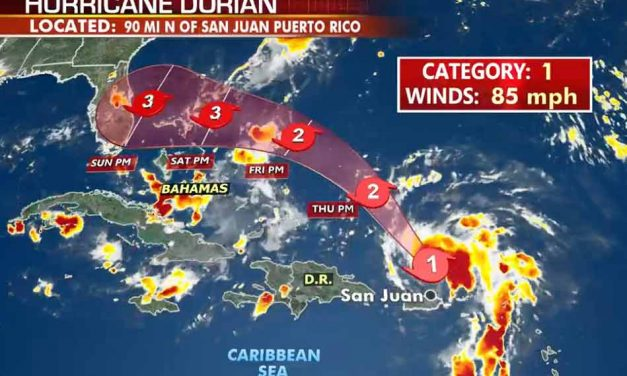 Hurricane Dorian Continues to Strengthen as it Steams Toward the East Coast of Florida