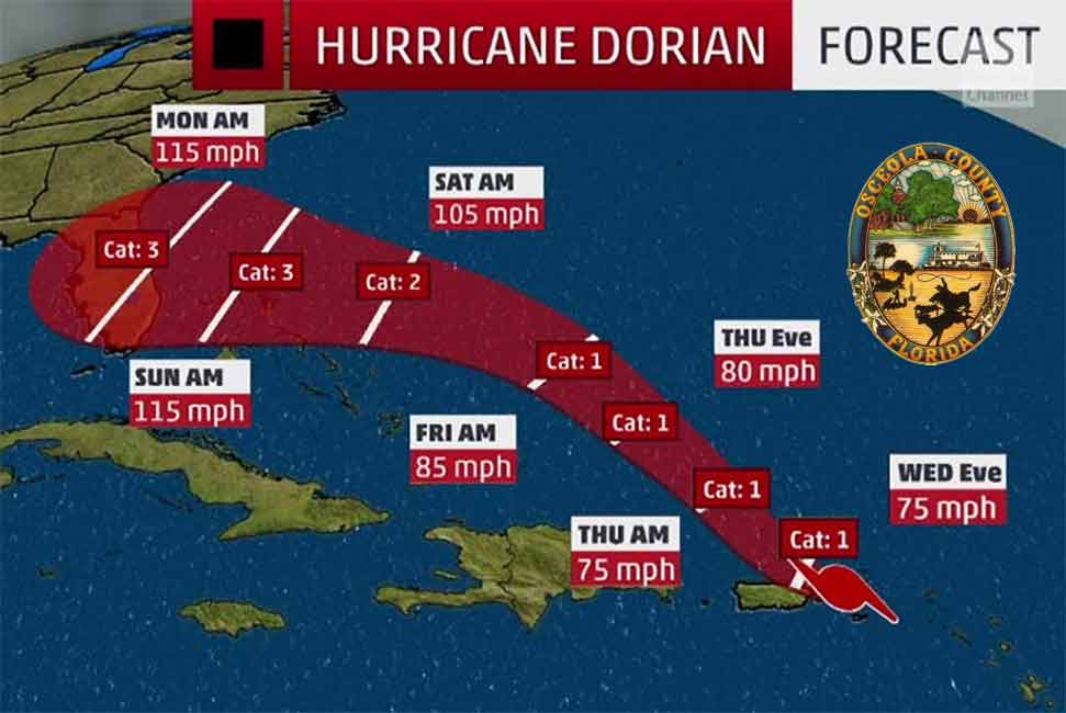 State of Emergency in Osceola County Declared by County Commission in Response to Arrival of Hurricane Dorian