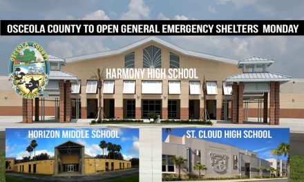 General Emergency Shelters to Open in Osceola County at Noon, Monday Sept. 2