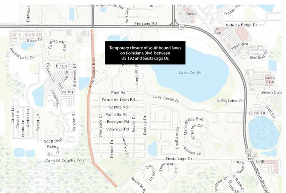 Toho Water Announces Temporary Closure of Southbound Lanes on Poinciana Blvd. Between Siesta Lago Dr. and US 192