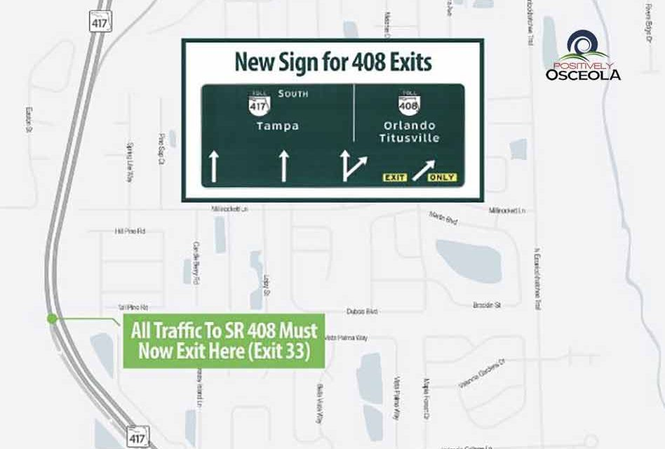 New traffic pattern for Southbound SR 417 to Eastbound SR 408 begins Monday morning