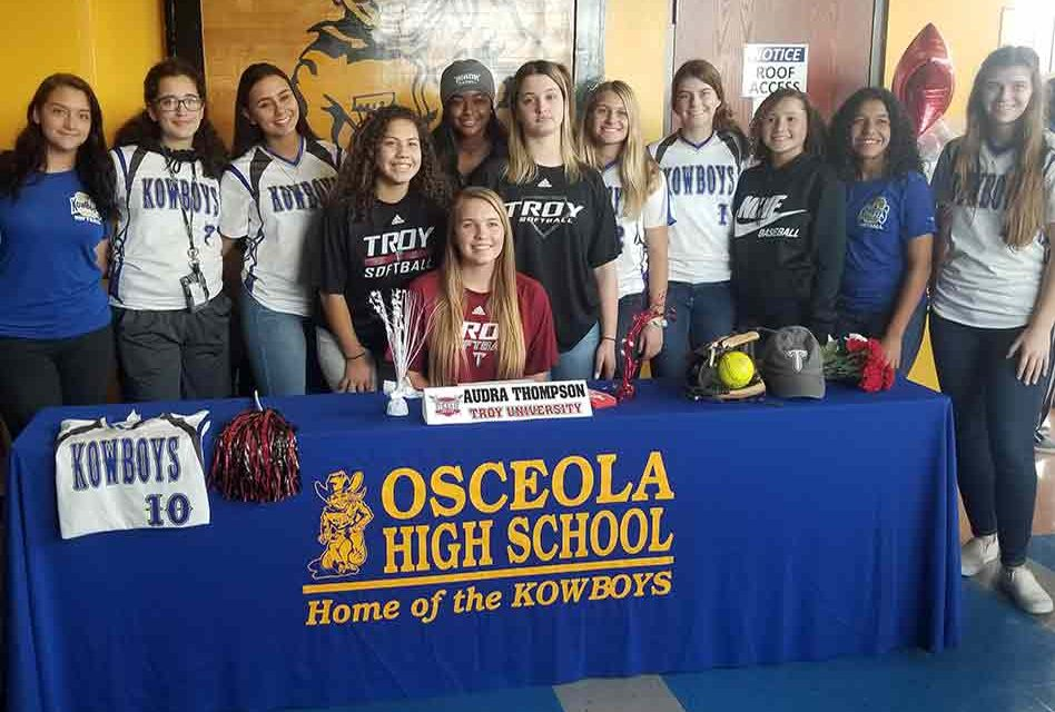OHS softball's Audra Thompson makes longtime dream official: she's a Troy Trojan