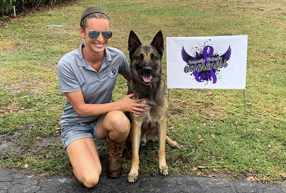 "Domestic violence support dogs on display at Sunday's PADV kickoff ""PAWty"""