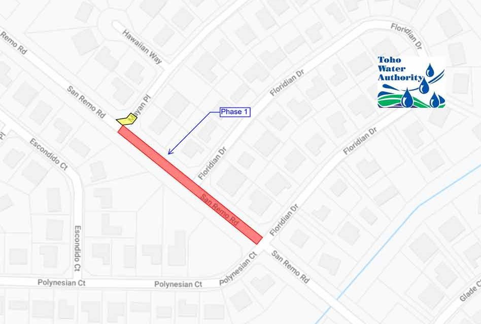 Toho Water Authority announces temporary lane and road closures, San Remo Rd. between Mayan Pl. and Floridian Dr.