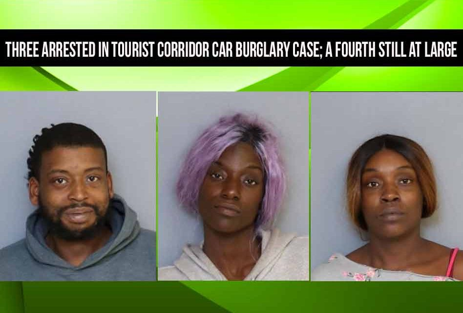 Three arrested in Osceola tourist corridor car burglary case; a fourth still at large