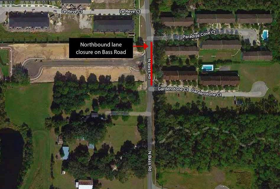 Lane closure on Bass Road in Kissimmee beginning the week of March 2 for sewer lift station rehabilitation project