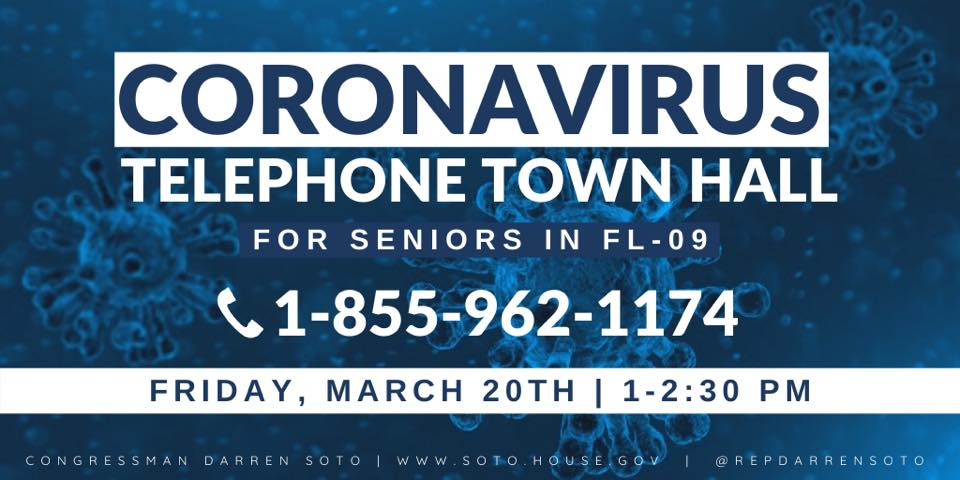 U.S. Representative Darren Soto to hold COVID-19 telephone town hall meeting at 1 p.m. today