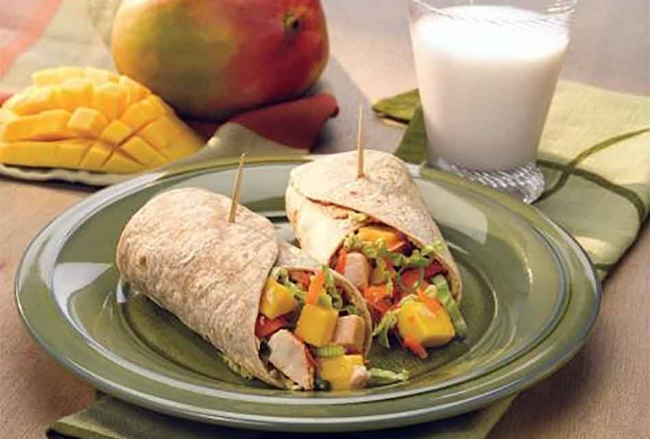 Cooking at home? Here's a positively delicious meal involving peanut butter: Asian Mango Chicken Wraps