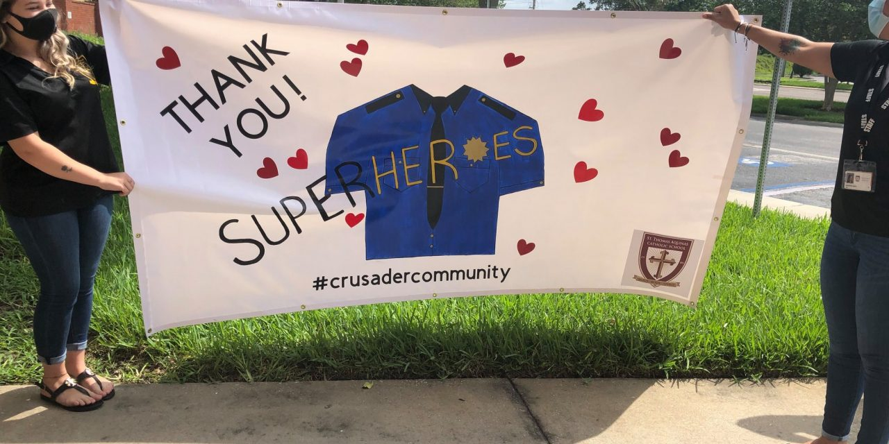 St. Thomas Aquinas' school students stay connected to thank front-line employees with banners