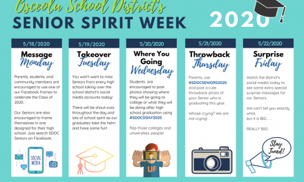 Class of 2020 honored next week with Senior Spirit Week and Virtual Decision Days