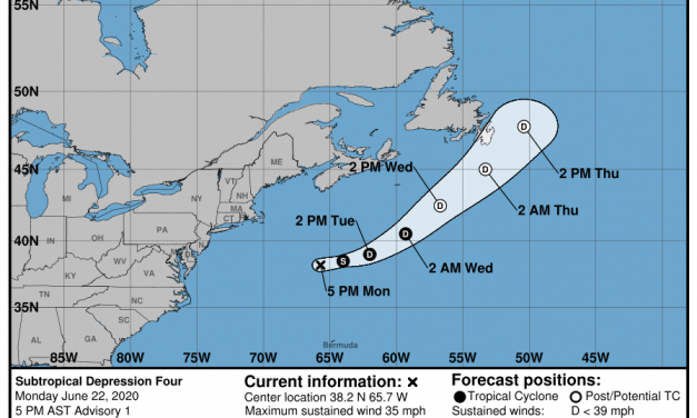 Subtropical Depression 4 forms off East Coast; could become Dolly by Tuesday morning