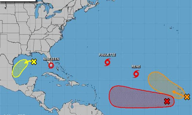 Tropical Depression 19 forms off Florida's east coast, heading toward the Gulf