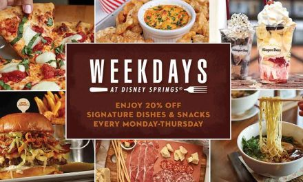Weekdays at Disney Springs:  Enjoy 20% off signature dishes & snacks Monday-Thursday through Oct. 29
