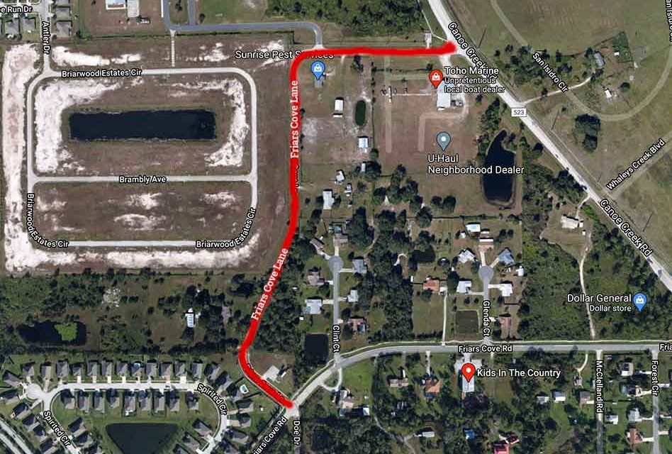 Friars Cove Lane in St. Cloud  to close for construction beginning Tuesday October 6