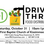 Free Food Distribution Drive-Thru on October 31 from 10am-1pm at First Baptist Church of Kissimmee