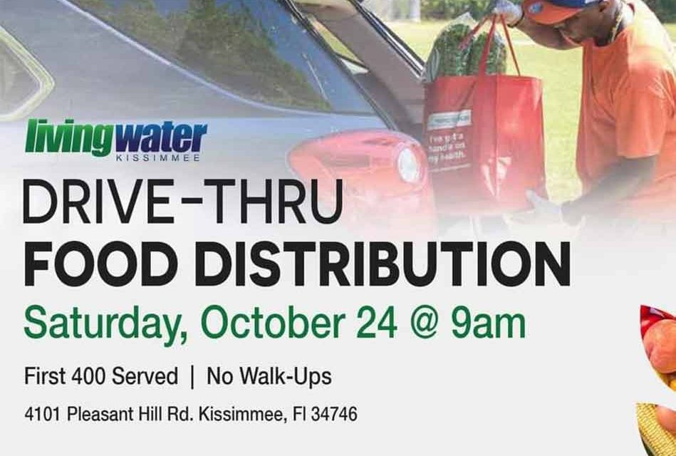 Living Water Fellowship in Kissimmee to host free food distribution on Saturday at 9am