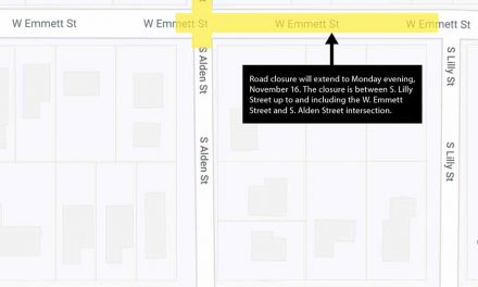 Road closure on W. Emmett Street extended to November 16 after bad weather causes work delay