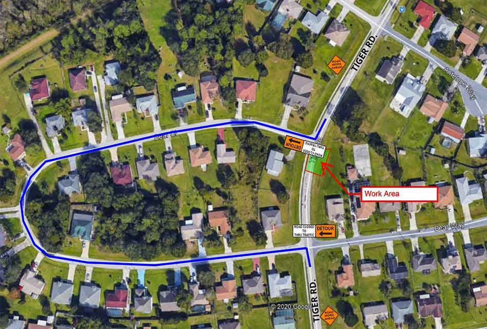 Toho Water announces closure to thru traffic on Tiger Rd. in Poinciana on December 2 for sewer project