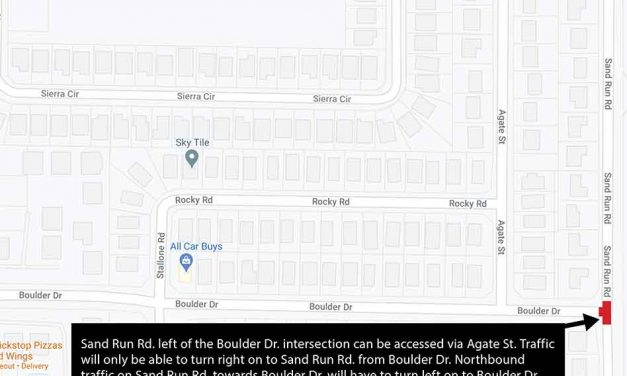 Road closure to thru traffic on Sand Run Rd. at Boulder Dr. intersection beginning January 12
