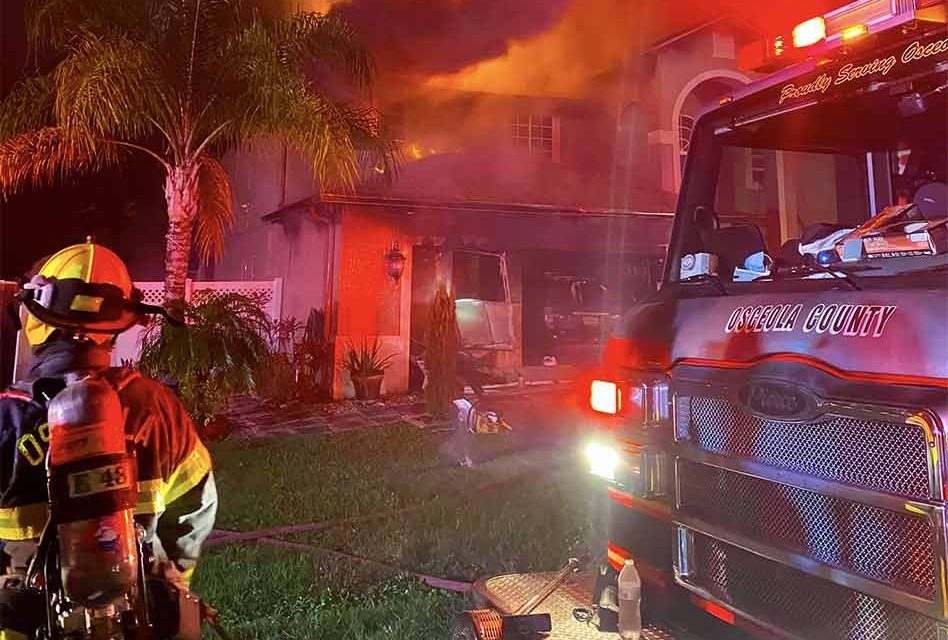 Saturday morning house fire in Poinciana leaves one injured, home total loss