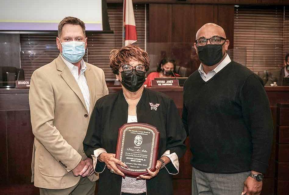 Deloris McMillon recognized as Lt. Lloyd Burton, Jr. Service Award winner by Osceola County