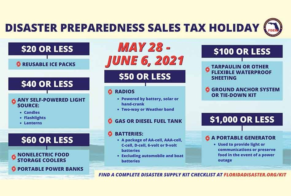 The 2021 Disaster Preparedness Sales Tax Holiday ends today Sunday June 6
