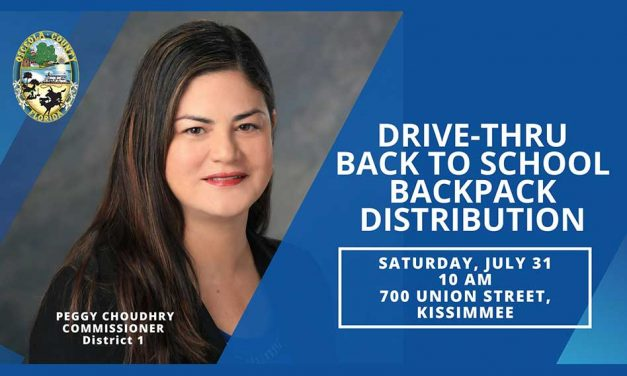 Osceola County, Commissioner Peggy Choudhry, to host drive-through back to school backpack giveaway