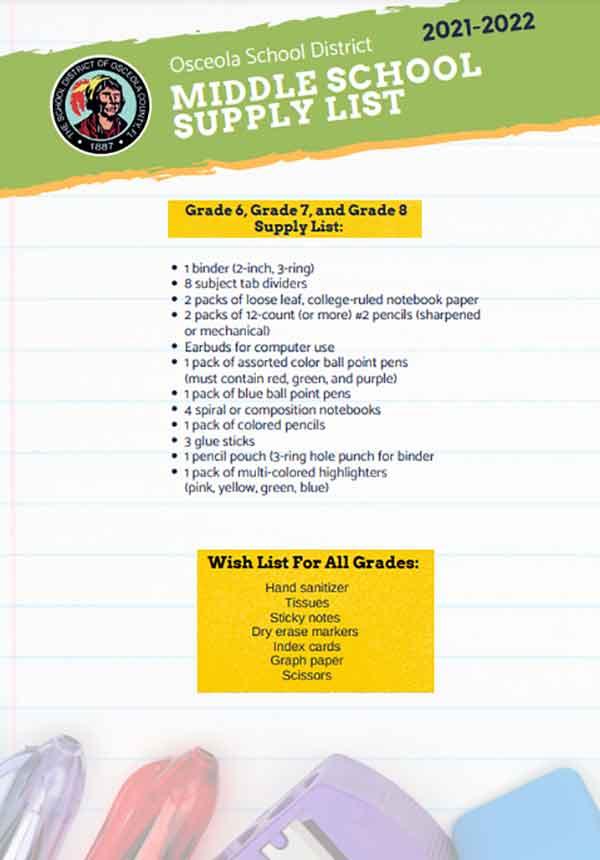 Osceola Middle School Supplies