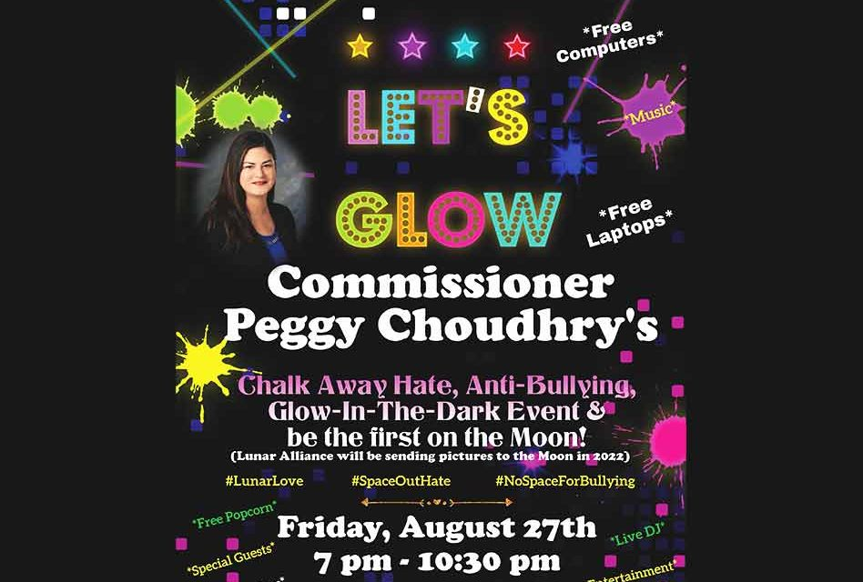 """Commissioner Peggy Choudhry to Host Anti-Bullying Student Event """"Chalk Away Hate"""" Friday, August 27"""