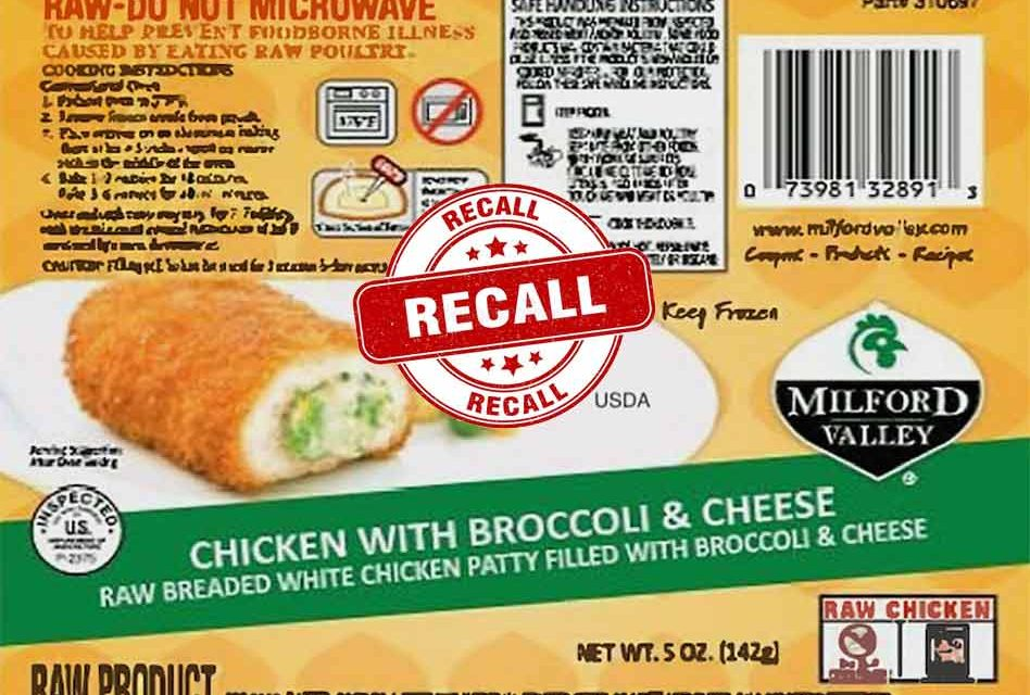60,000 pounds of frozen, stuffed chicken recalled for salmonella, check your freezer!