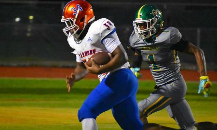 Harmony runs away from Liberty 44-14 after lightening delay